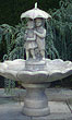 Single Tier Large Girl & Boy Under Umbrella Fountain #3310 basin #2089-f7