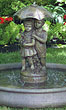 Large Girl & Boy Under Umbrella Fountain on Classic Pool #3427 basin #2089-f7