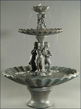 3 Water Nymphs Fountain #250-F5S :  garden outdoor tiered fountain