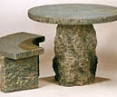 Granite Round Table #6031 and Curved Bench #6023
