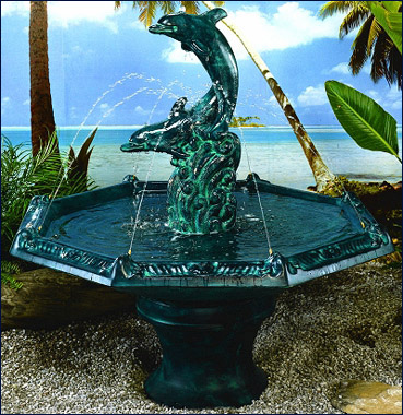 Dolphins with Octagon Bowl #2007-F5 :  garden outdoor tiered fountain